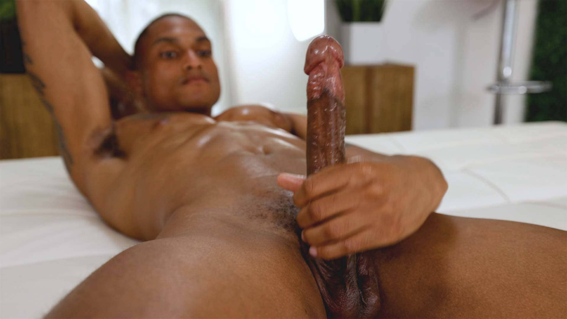 Eli Bennett Slow Strokes His Long Cock And Ends It With A Taste Test