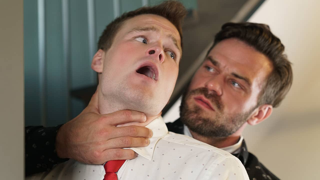 A Sinful Stairwell Encounter – Brent North and James Fox